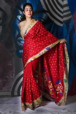 RED SOFT SILK WITH EMBROIDERED BUTA WITH PRINTED BORDER AND PALLU