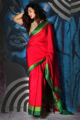 RED DUPION SILK SAREE WITH MULTICOLOR DUAL BORDER & ZARI PALLU