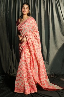 BEIGE AND RED FLORAL WEAVED JAMDANI WITH GEOMETRIC PALLU