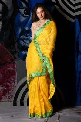 YELLOW JAMDANI SAREE WITH ALL OVER WEAVING AND ATTACH FLORAL BORDER