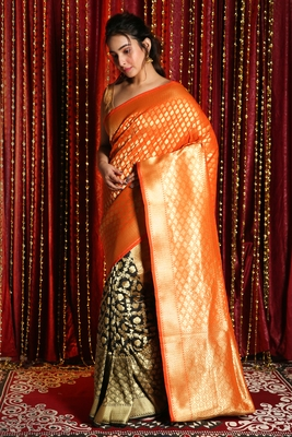 BLACK AND ORANGE HALF HALF BANARASI WITH ZARI WEAVING