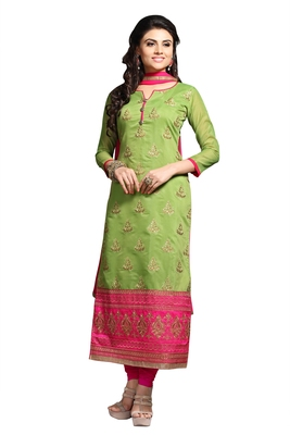 Green Party Wear Chudidar Salwar Kameez Suit Material for women