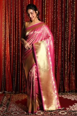 PINK ZARI WEAVED BANARSI WITH ALL OVER BIRD MOTIF ZARI WEAVING