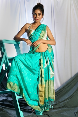 TURQUOISE BLUE DUPION SILK SAREE WITH ALLOVER SMALL BUTTA EMBROIDERY AND ZARI PALLU