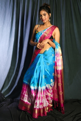 SKY BLUE AND MAGENTA TIE & DYE BLENDED SILK SAREE AND ZARI WORK