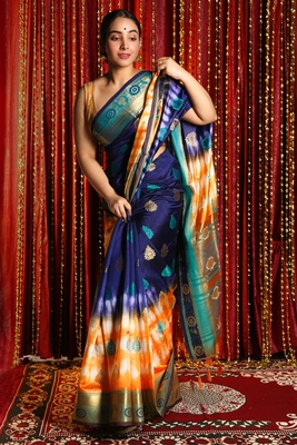 NAVY BLUE AND YELLOW TIE & DYE BLENDED SILK SAREE