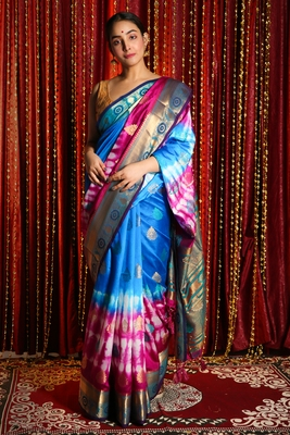 BLUE AND DEEP PINK TIE & DYE BLENDED SILK SAREE