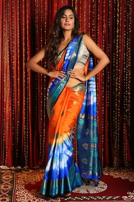 ORANGE AND BLUE TIE & DYE BLENDED SILK SAREE