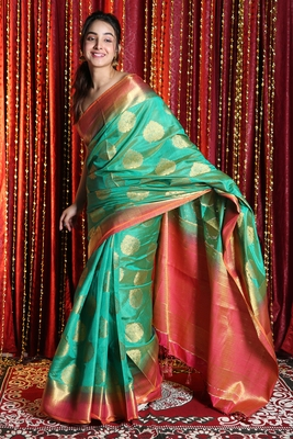 SEA GREEN DUAL TONE BLENDED SILK WITH ALLOVER ZARI WEAVING AND PINK BORDER & PALLU
