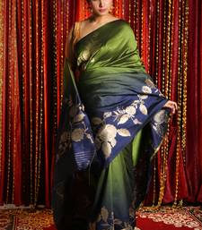 APPLE GREEN AND NAVY BLUE DUPION SILK SAREE WITH GOLDEN FLORAL BORDER