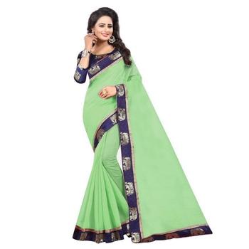 Green plain chanderi silk saree with blouse