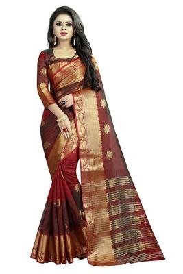 Maroon embroidered banarasi cotton saree with blouse