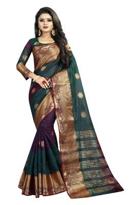 Green embroidered banarasi cotton saree with blouse