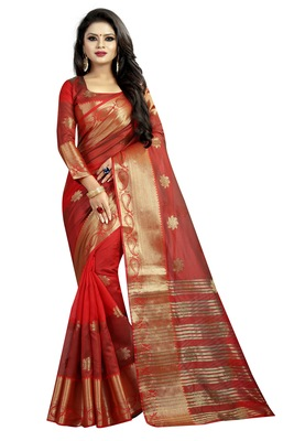 Red embroidered banarasi cotton saree with blouse