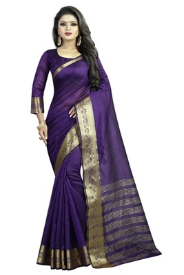 Purple embroidered banarasi cotton saree with blouse
