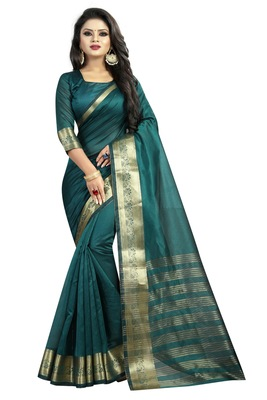 Dark green embroidered banarasi cotton saree with blouse