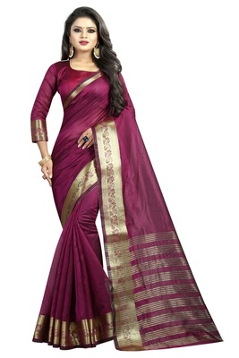 Wine embroidered banarasi cotton saree with blouse