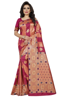 Rani pink embroidered banarasi silk saree with blouse