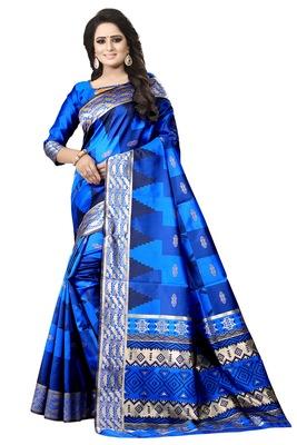 Blue embroidered banarasi silk saree with blouse