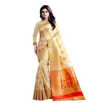 Cream embroidered banarasi silk saree with blouse