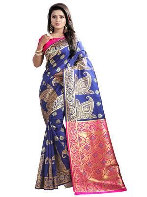 Navy blue embroidered banarasi silk saree with blouse