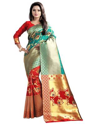 Dark green embroidered banarasi silk saree with blouse
