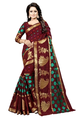 Maroon embroidered banarasi silk saree with blouse