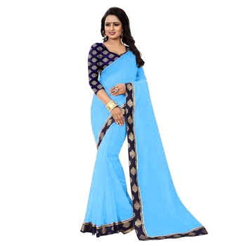 Turquoise plain chanderi silk saree with blouse