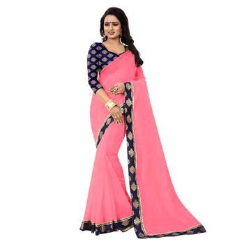 Pink plain chanderi silk saree with blouse