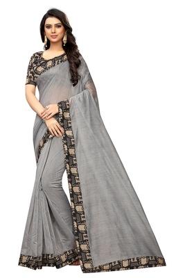 Grey plain chanderi silk saree with blouse