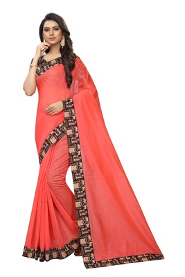 Peach plain chanderi silk saree with blouse