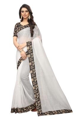 White plain chanderi silk saree with blouse