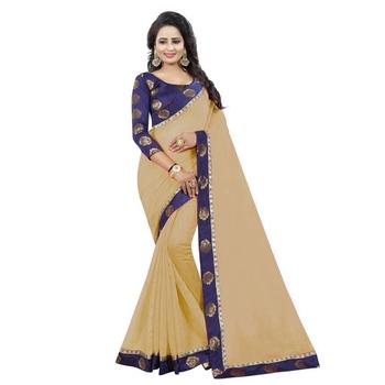 Chiku plain chanderi silk saree with blouse