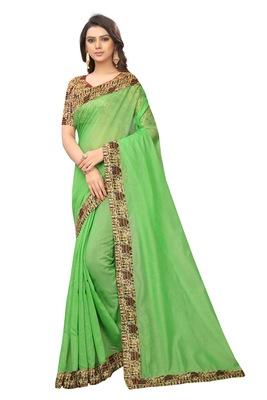 Green plain chanderi silk saree with blouse