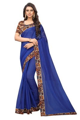 Blue plain chanderi silk saree with blouse