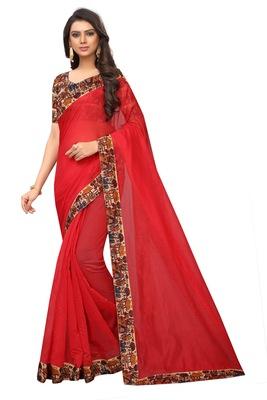 Red plain chanderi silk saree with blouse