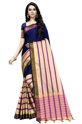 Navy blue plain cotton silk saree with blouse