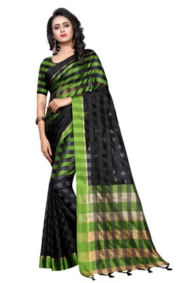 Mehendi plain cotton silk saree with blouse