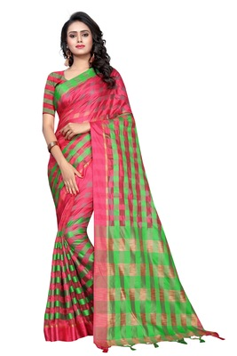 Rani pink plain cotton silk saree with blouse