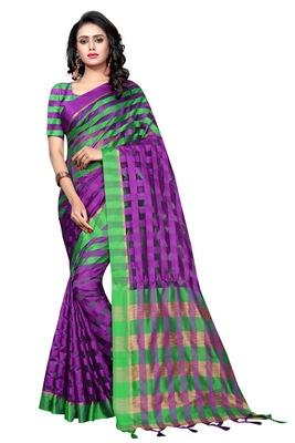 Violet plain cotton silk saree with blouse