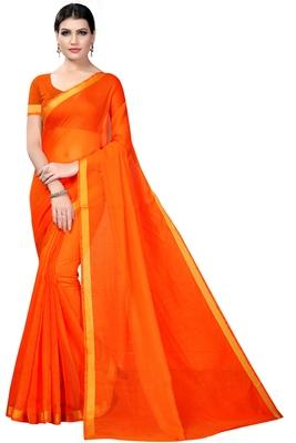 Orange plain cotton silk saree with blouse