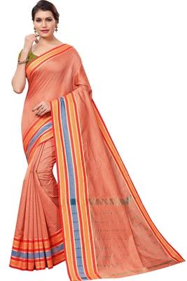 Peach plain cotton silk saree with blouse