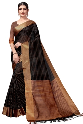 Black plain cotton silk saree with blouse