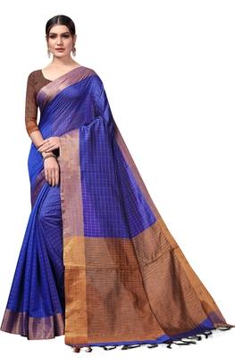 Purple plain cotton silk saree with blouse