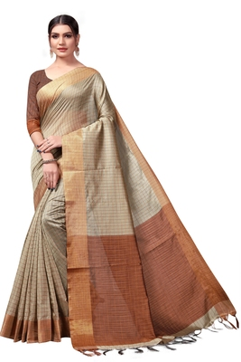 Chiku plain cotton silk saree with blouse