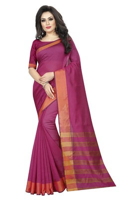 Rani pink plain cotton silk saree with blouse