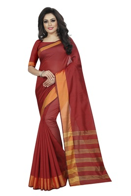 Red plain cotton silk saree with blouse