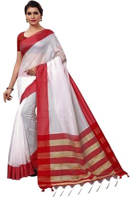 White plain cotton silk saree with blouse