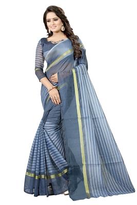 Grey plain cotton silk saree with blouse