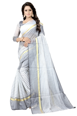 White plain cotton silk saree with blouse